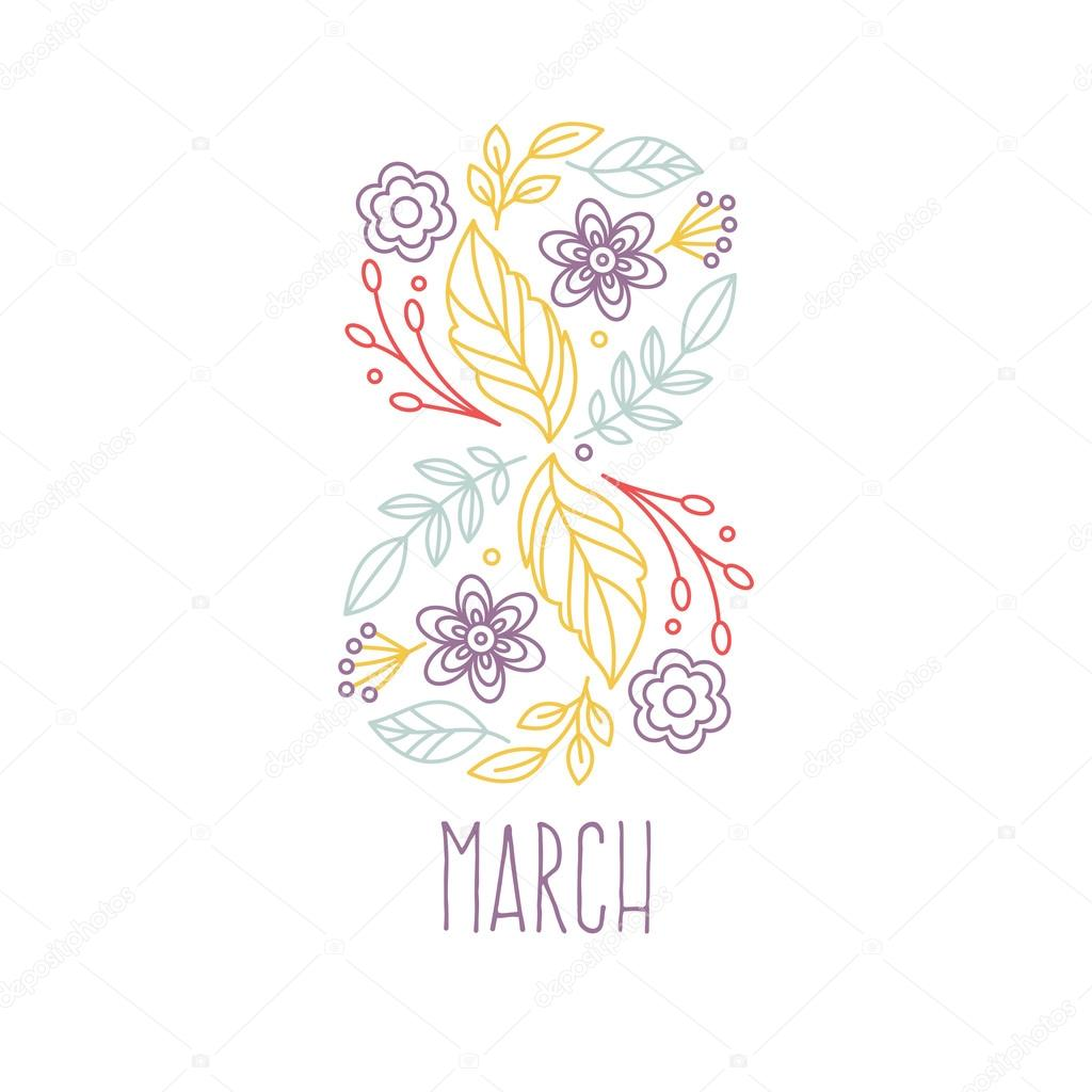 8 March greeting card.