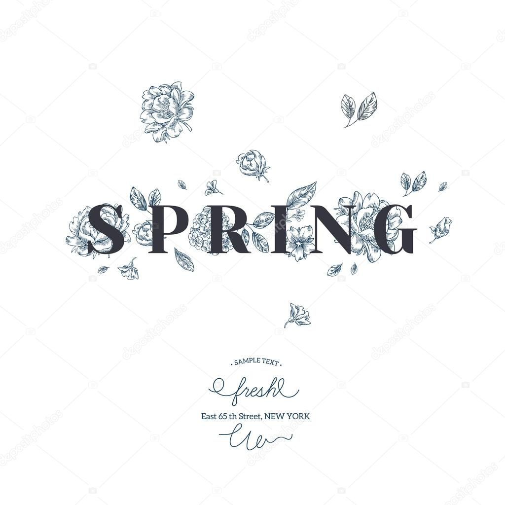 Elegant Spring flower card template.
