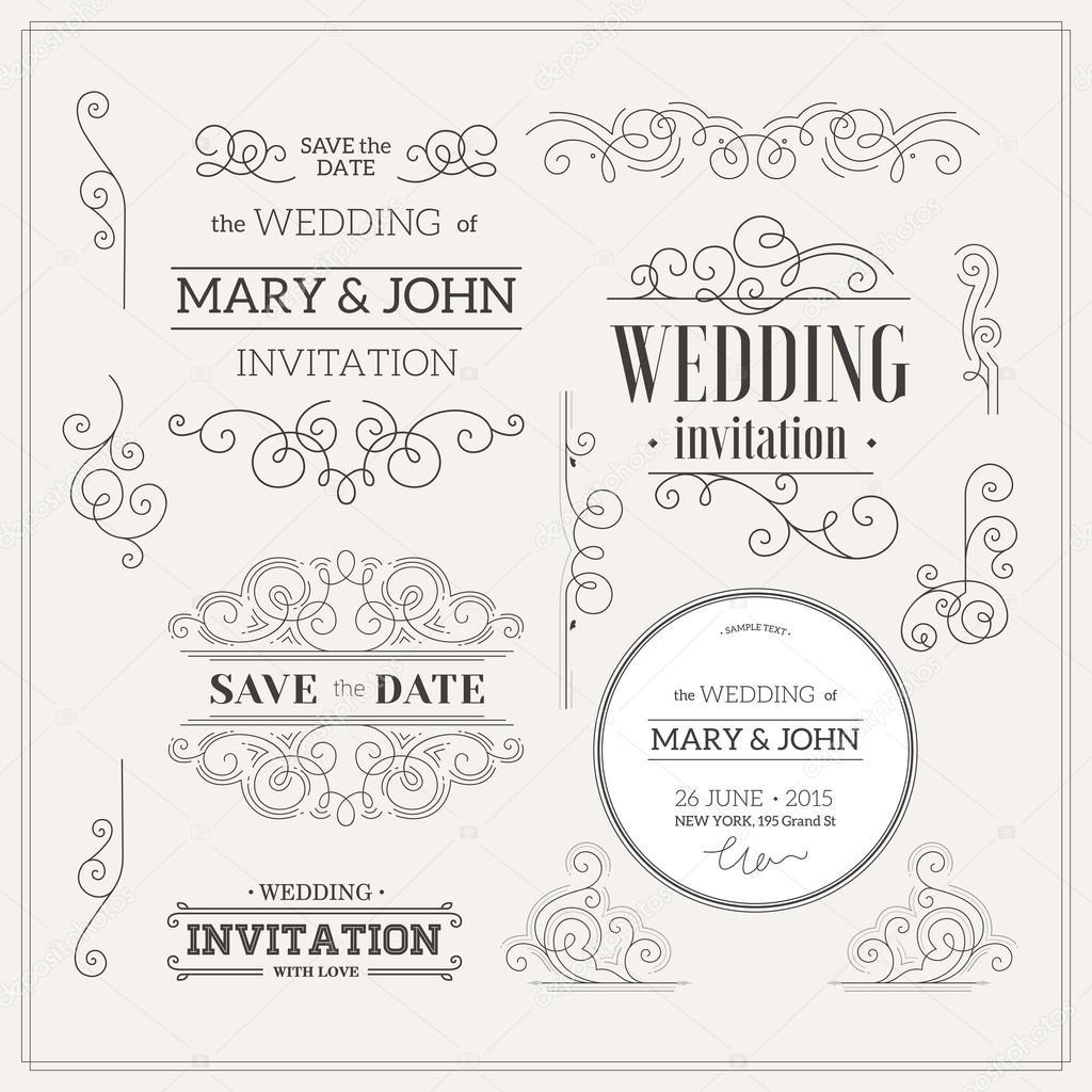 Kit de desenho vintage casamento convite vetores de stock vintage wedding invitation design kit elements ornaments badges vector illustration vetor de adehoidar stopboris Images