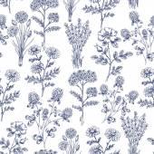Ruky nakreslené byliny bezešvé vzor