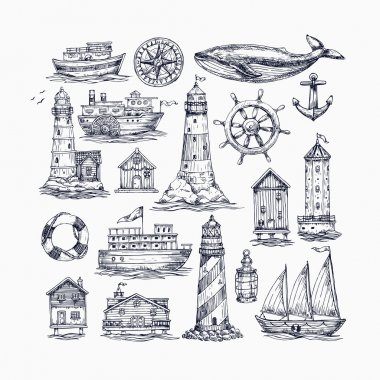 Nautical elements seamless pattern