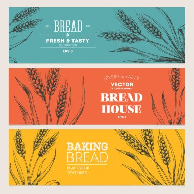 Bread horizontal banners collection