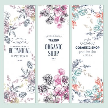Floral banner collection. Organic shop. Vector illustration clip art vector