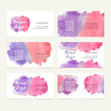 Watercolor business card set