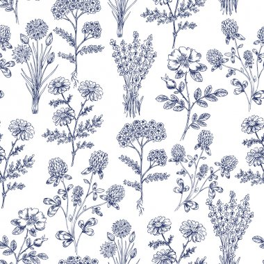 Hand Drawn Herbs Seamless Pattern