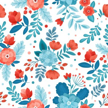 Fun Flowers seamless pattern. Vector illustration clip art vector