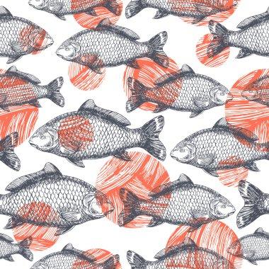 Carp Fish Asian style pattern