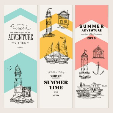 Nautical elements banner collection