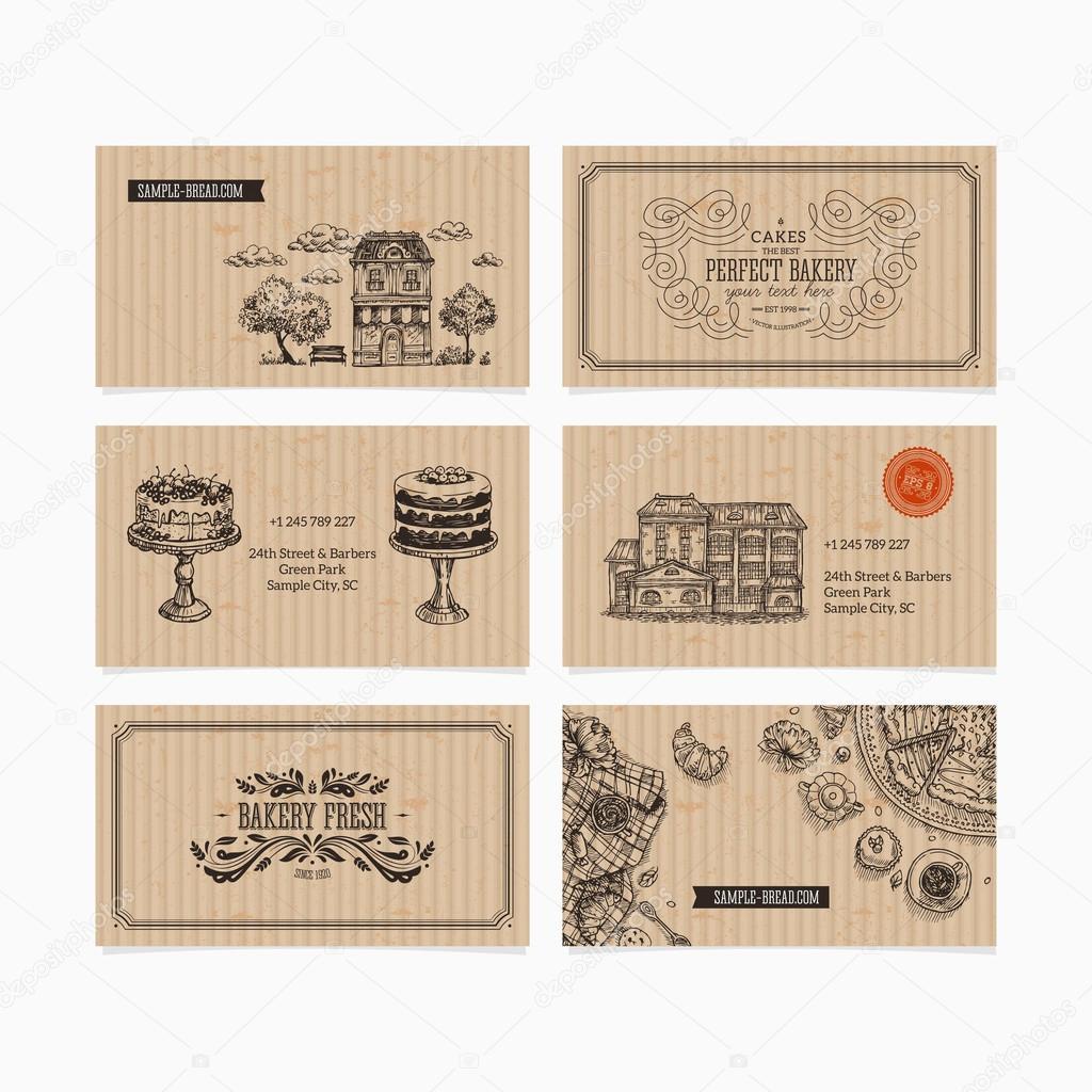 Cartes De Visite Boulangerie Image Vectorielle