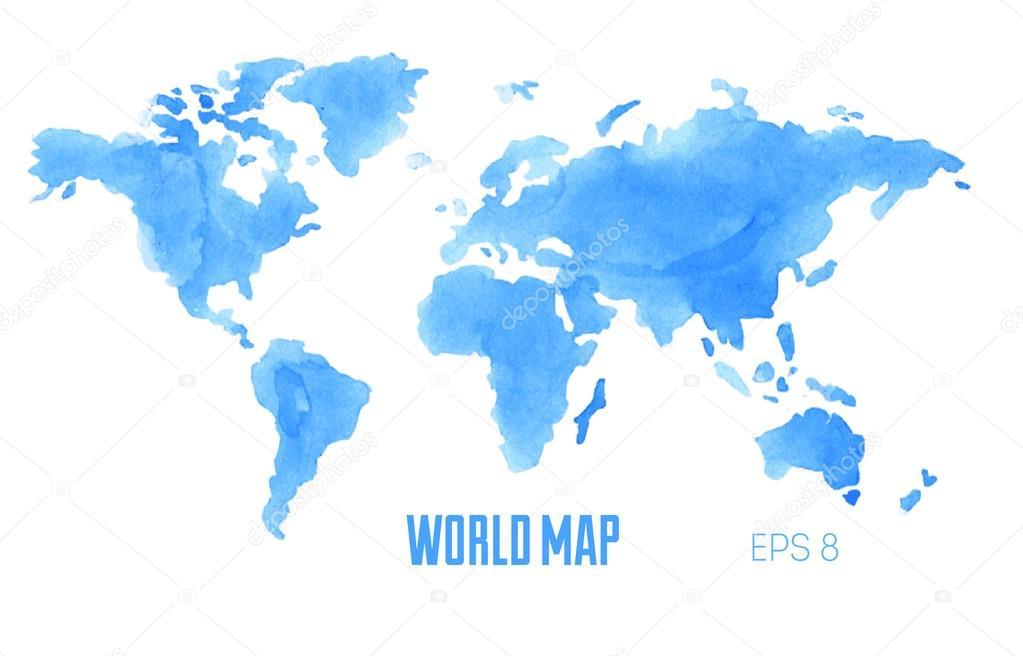 Sulu Boya Dünya Haritası Stok Vektör Adehoidar 80109892