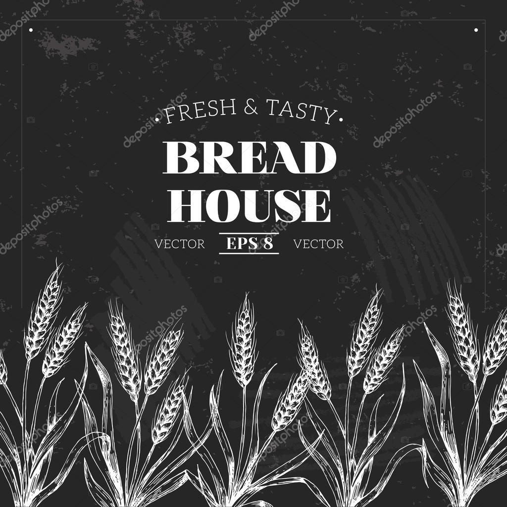 bread chalkboard design template stock vector adehoidar 80109996
