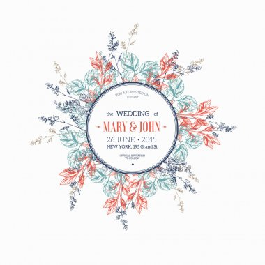 Round flower composition. Wedding invitation