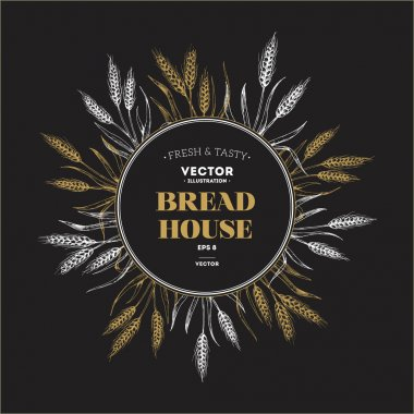 Bread design template round composition