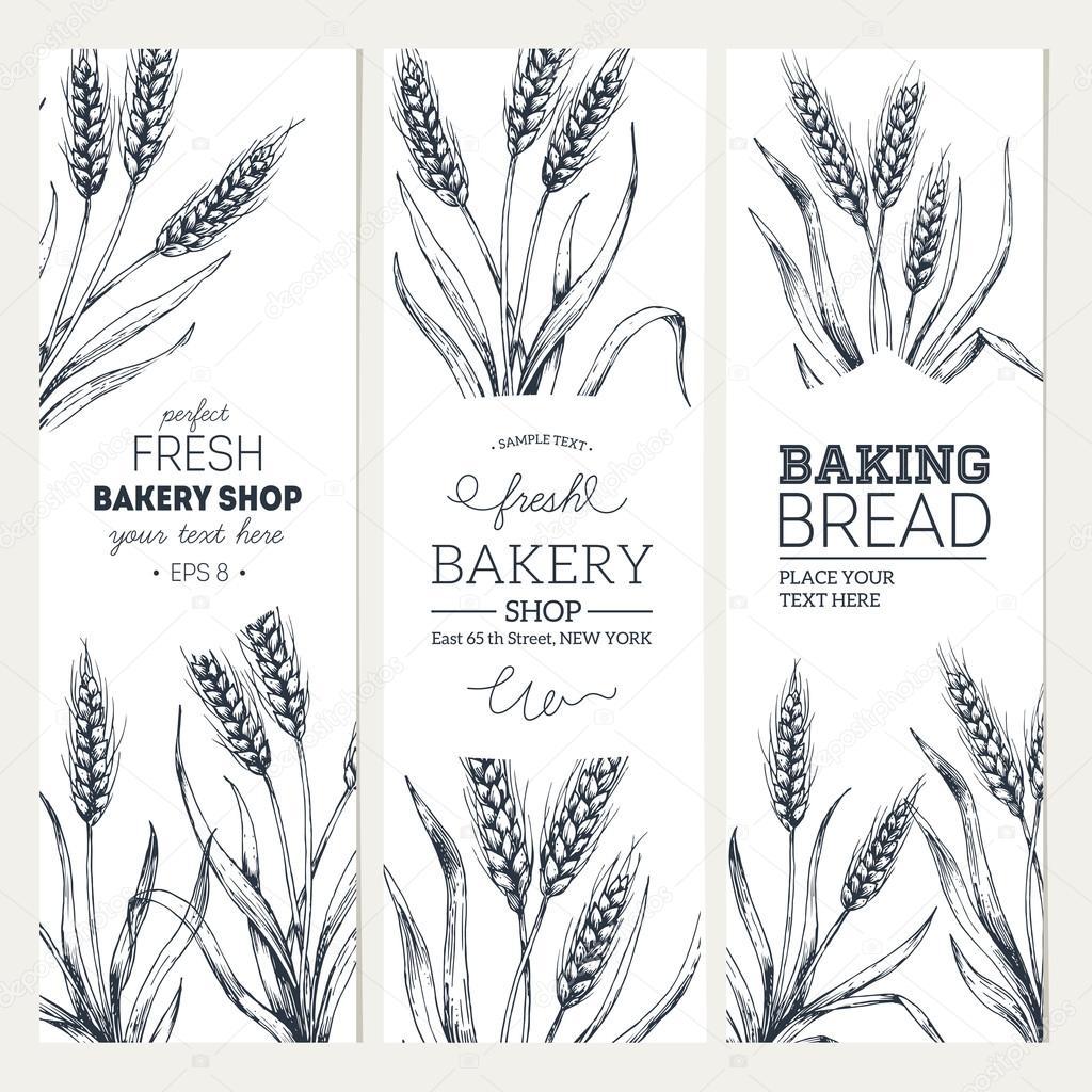 Bread vertical vintage banners
