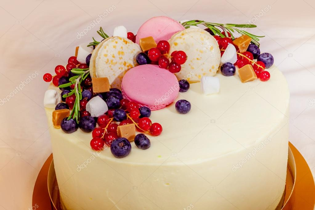 Birthday Cake With Cream Fresh Fruit And Berries Slide Yellow Background