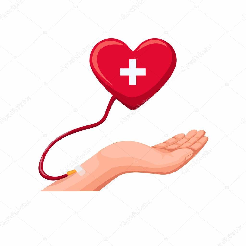 Hand donation blood icon