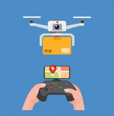 Drone carrying package delivery hand holding remote to control drone with monitor gps in cartoon flat illustration editable vector isolated in blue background icon