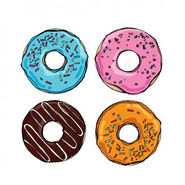 cute sweet colorful donuts