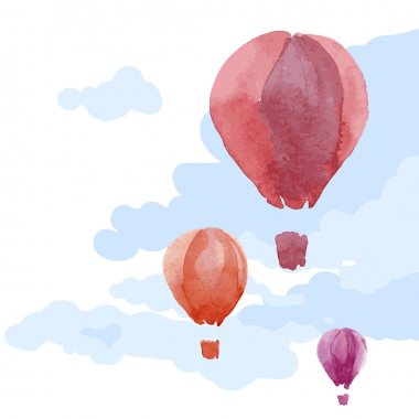 Watercolor hot air balloons in sky