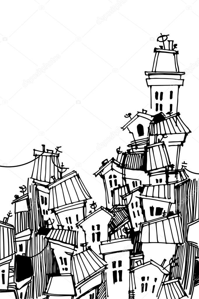 carte de ville noir et blanc dessin anim image vectorielle 85188936. Black Bedroom Furniture Sets. Home Design Ideas