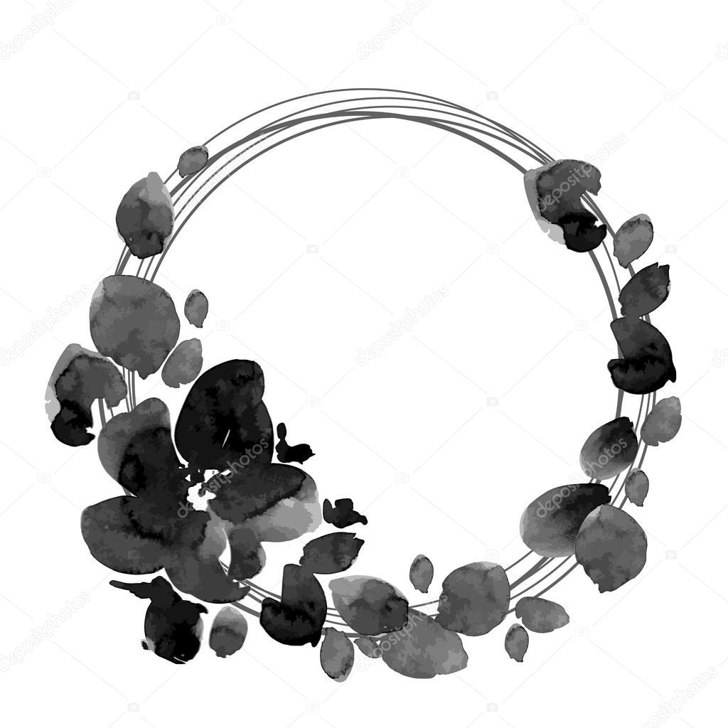 Black And White Flowers Wreath Stock Vector Ota 85189688
