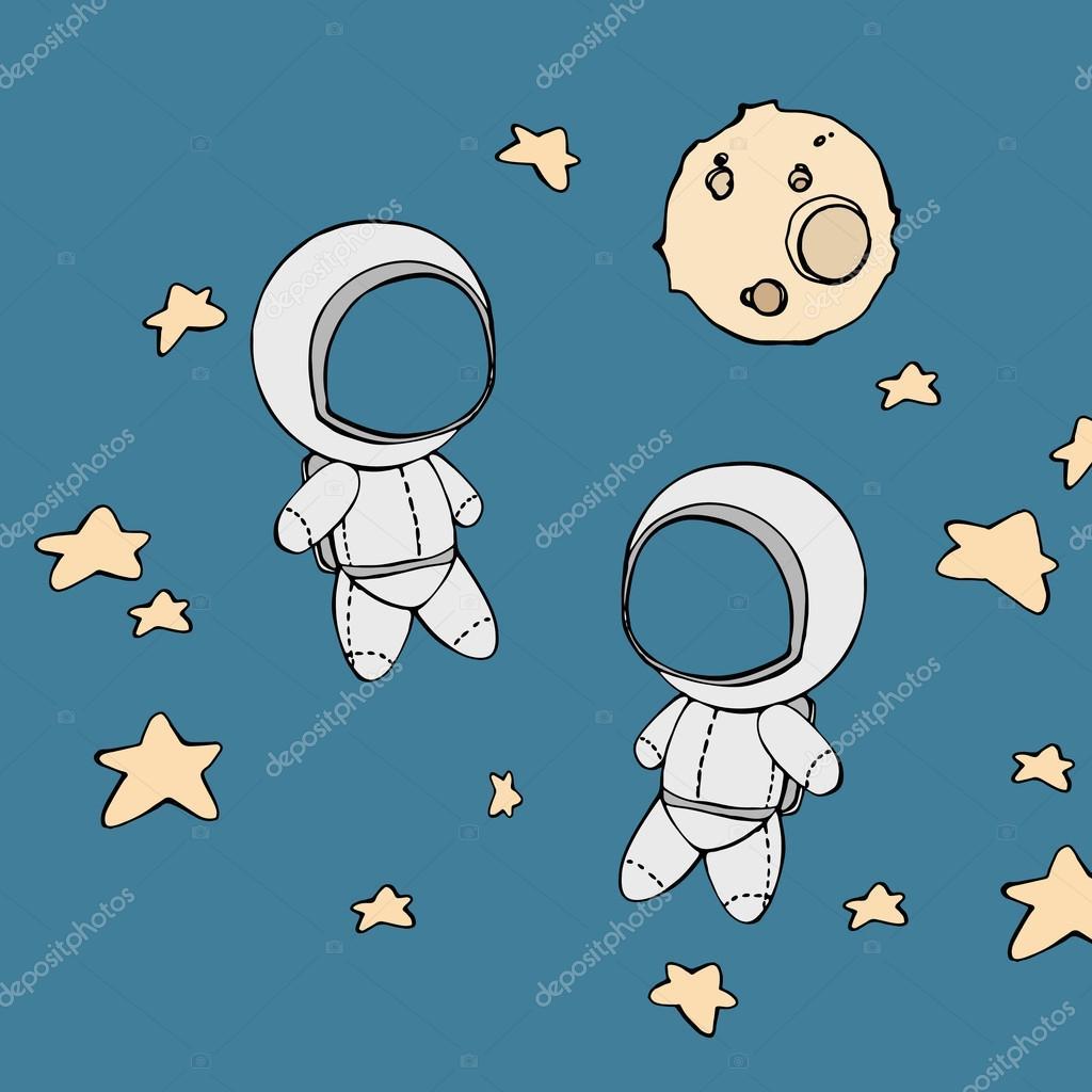 かわいい手描きの星と宇宙飛行士 ストックベクター Ota 85189782