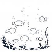 Underwater world with plants, fish