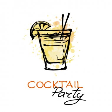 Hand drawn cocktail party poster