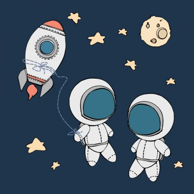 cute hand drawn astronauts with stars