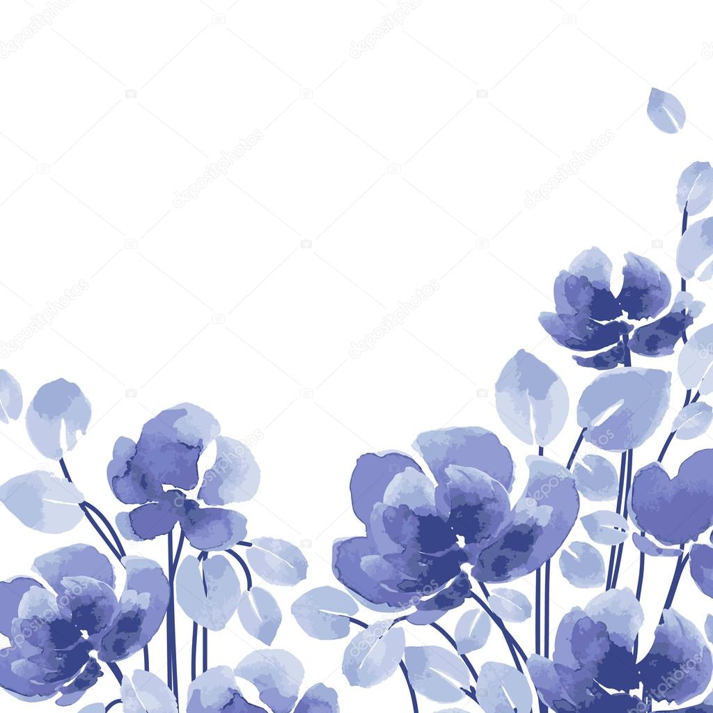 Acuarelas Flores Azules Vector De Stock C O Ta 85190006