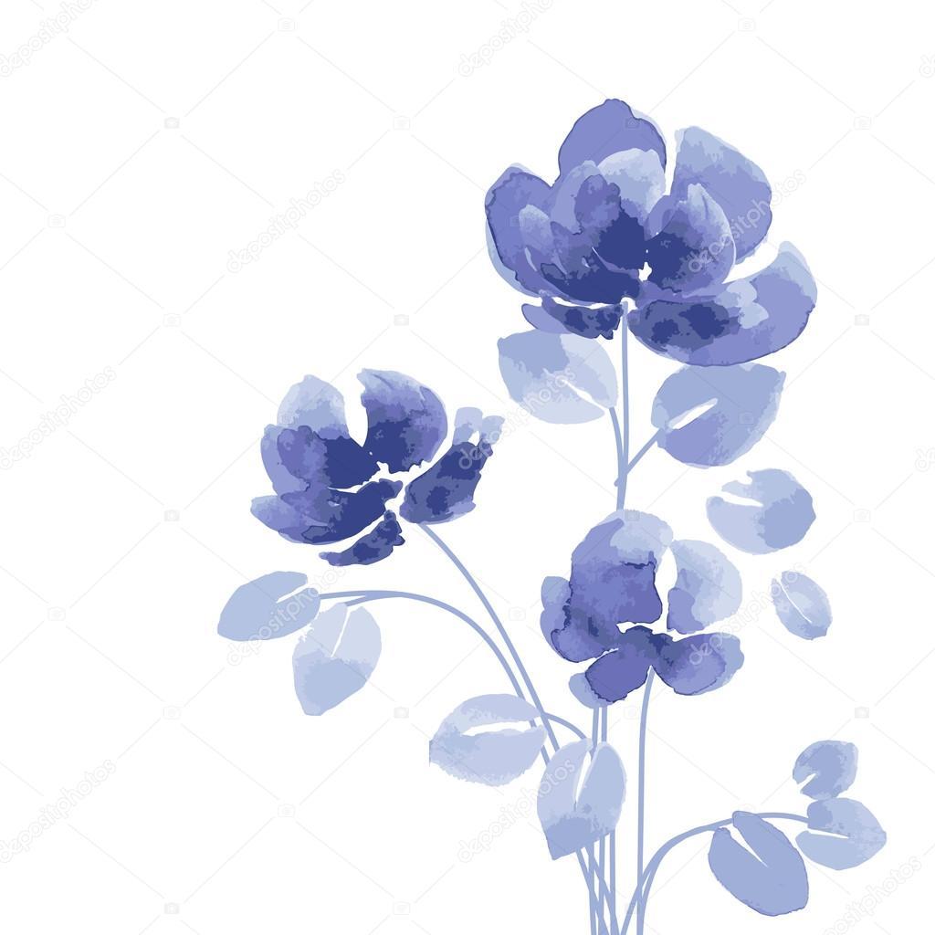 Imagenes Acuarelas Con Flores Acuarelas Flores Azules Vector De