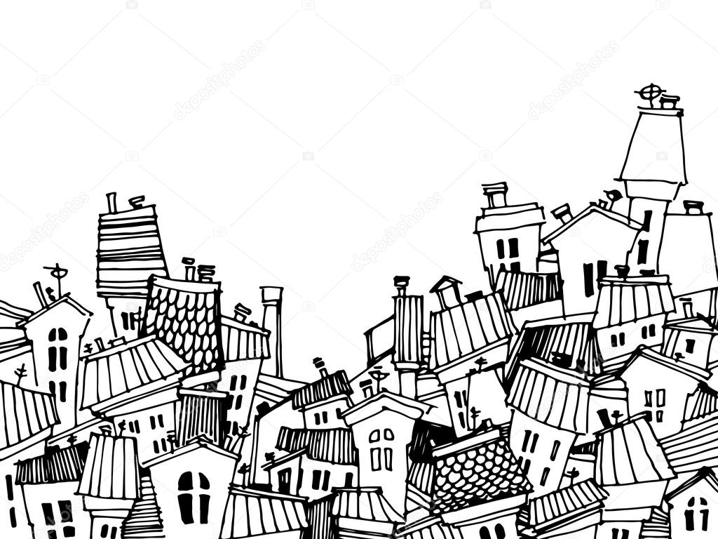 Tarjeta De Ciudad Blanco Y Negro De Dibujos Animados