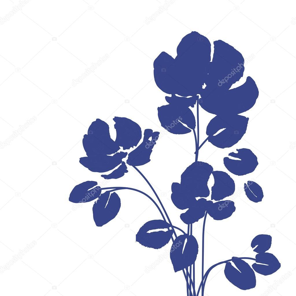Acuarelas Flores Azules Vector De Stock C O Ta 85191154