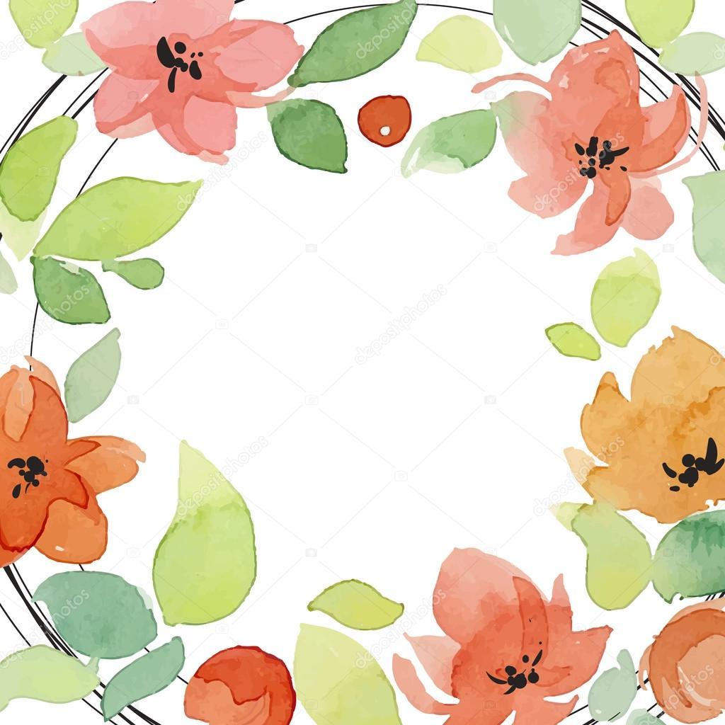 Watercolor Flowers Greeting Card Stock Vector Ota 85191582