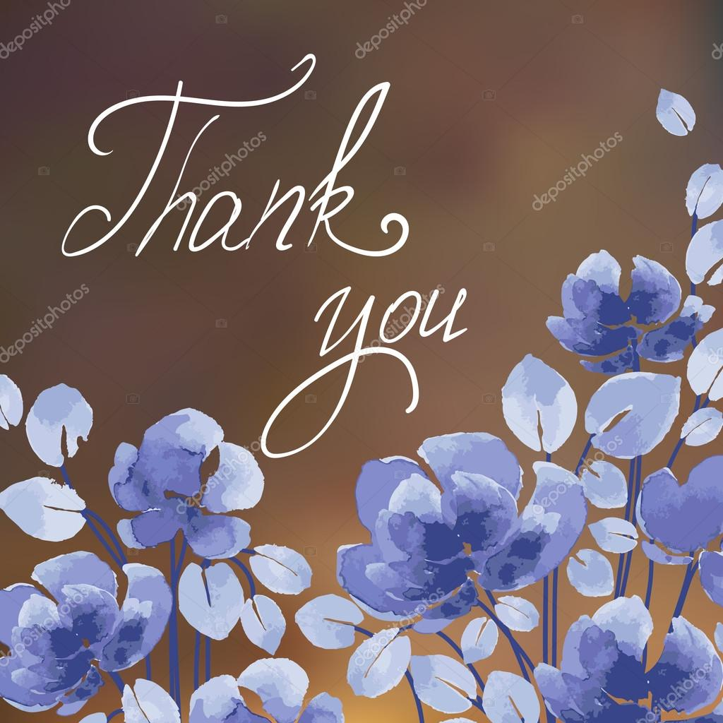 Thank you! card with watercolor flowers