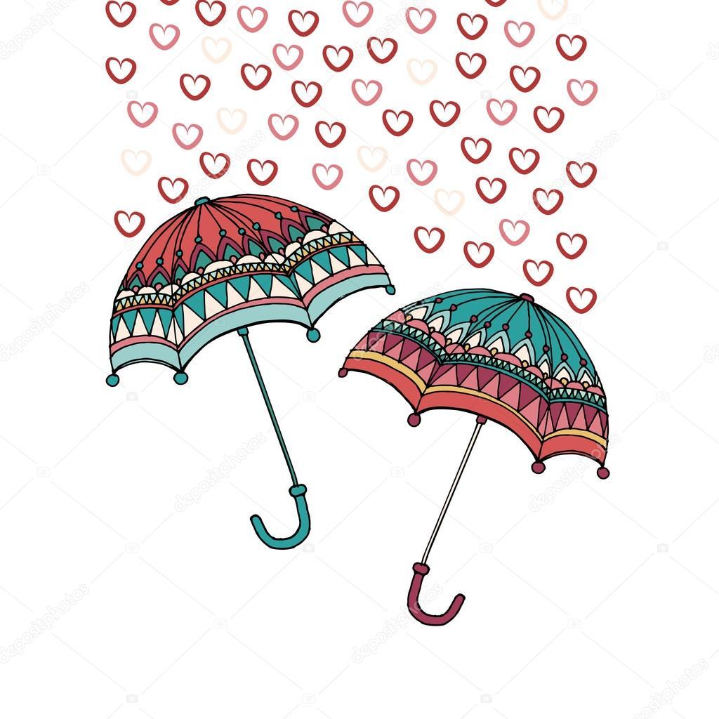 Paraguas Y La Lluvia En Forma De Corazones Vector De Stock Ota