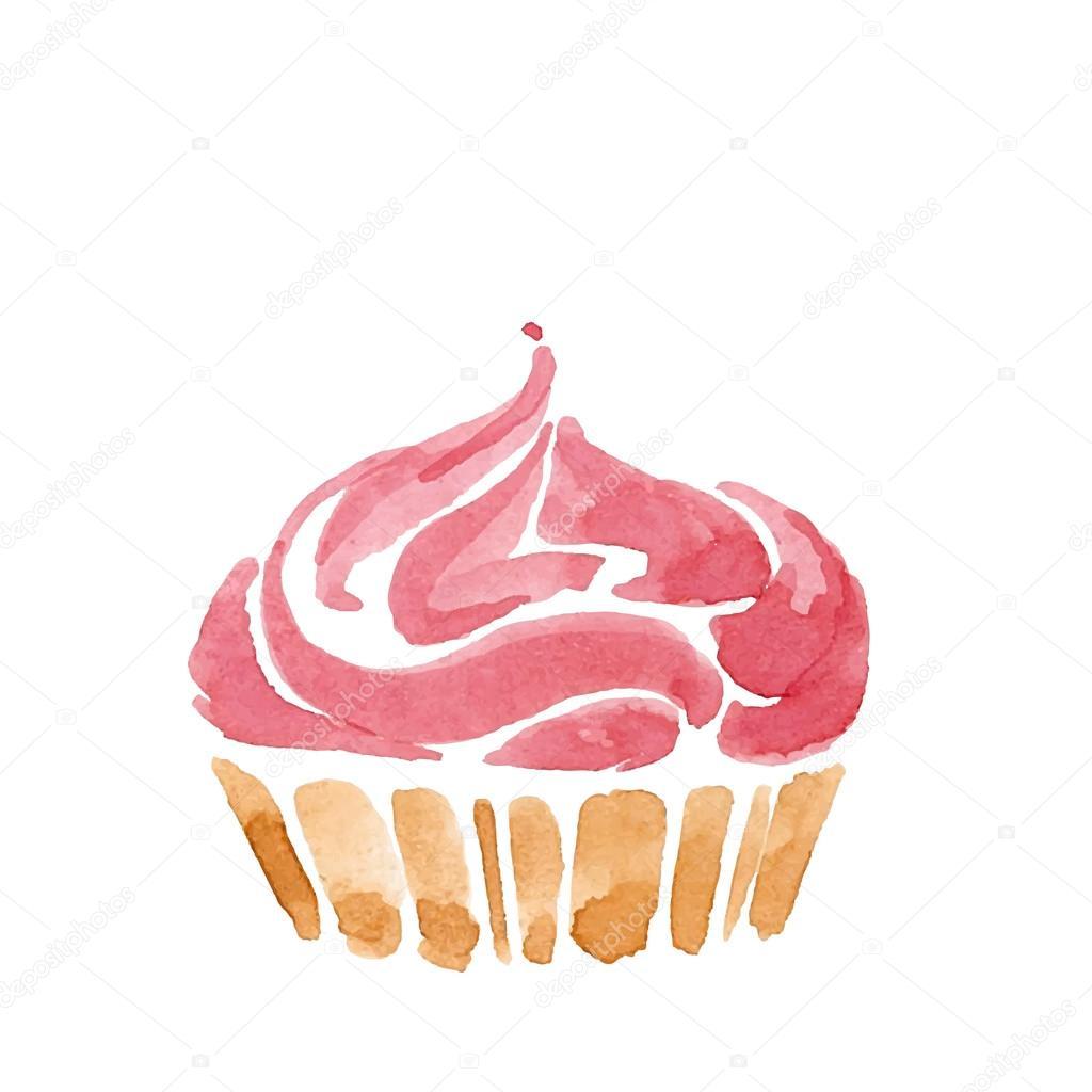Pink Watercolor Cake Logo