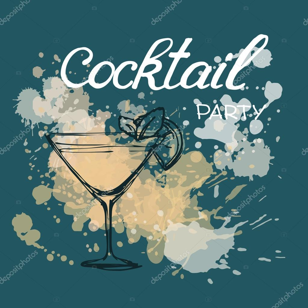 Cocktail Party Invitation Poster Stock Vector C O Ta 85194334