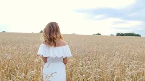 beautiful woman run away in wheat field