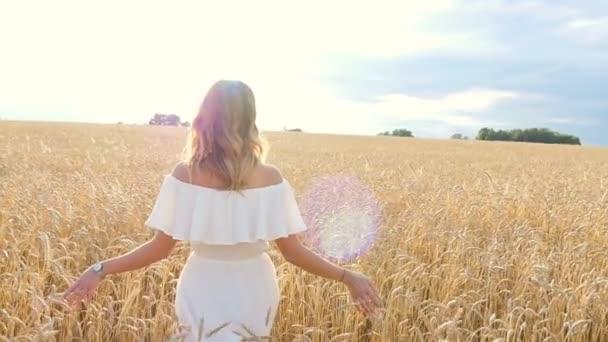 schöne junge Frau im weißen Kleid auf einem Weizenfeld
