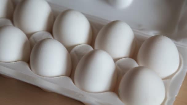 Nice big rural fresh eggs in cardboard egg box holder