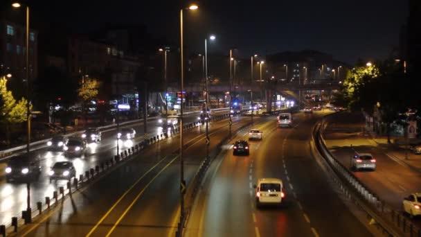 Rozostřeného městské abstraktní textura, rozmazané pozadí s bokeh město světel z auta na ulici v noci, ročník nebo retro barevný tón