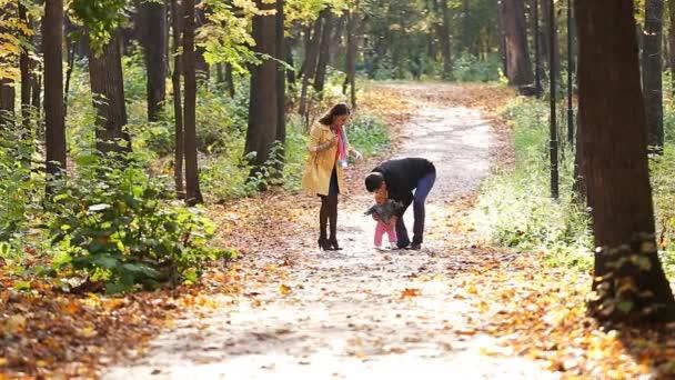 šťastná rodina na procházce v parku na podzim