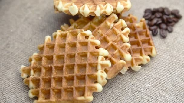 closeup of waffles on coffee beans