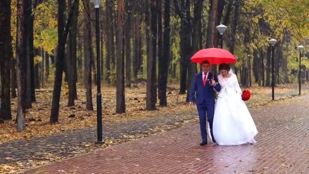Svatební pár hospodářství červený deštník
