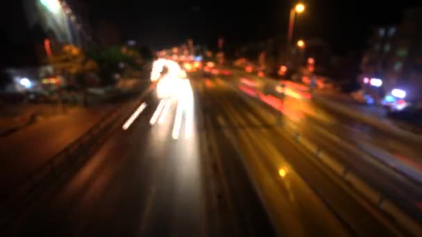 Blurred timelapse night traffic
