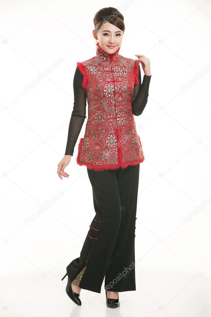 1967117f60b4 Wearing cotton padded jacket China lady in white background — Stock Photo
