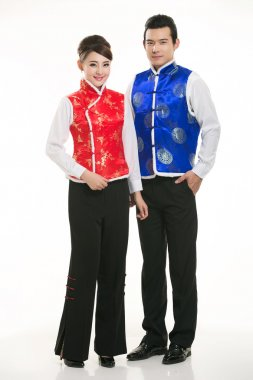 Wearing cotton padded jacket China lady in white background