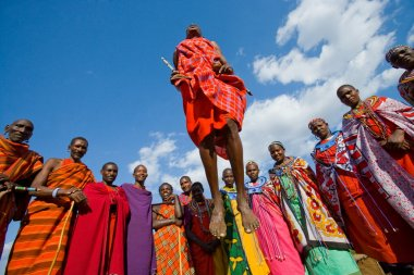 Masai warriors traditional jumps
