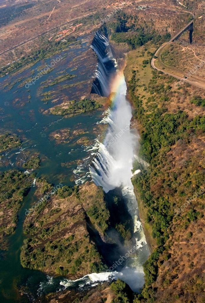 Victoria Falls. A general view of a rainbow